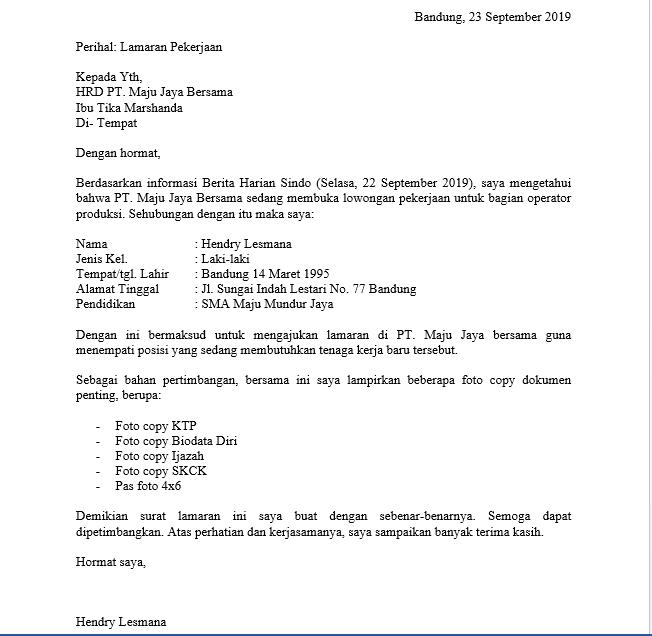 contoh surat lamaran kerja di pt sebagai karyawan